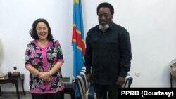 Mokonzi ya kala ya RDC Joseph Kabila (D) ayambi mokambi ya MONUSCO Leila Zerrougui na Kinshasa, 16 septembre 2020. (MONUSCO)