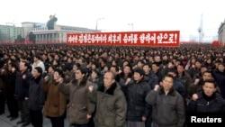 지난 2013년 2월 북한의 3차 핵실험 직후 평양에서 핵실험 성공을 자축하는 대규모 군중대회가 열렸다. (자료사진)