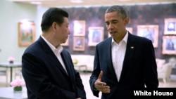7일 캘리포니아주 란초미라지 휴양지 서니랜즈에서 오바마 대통령과 시 주석이 대화하고 있다