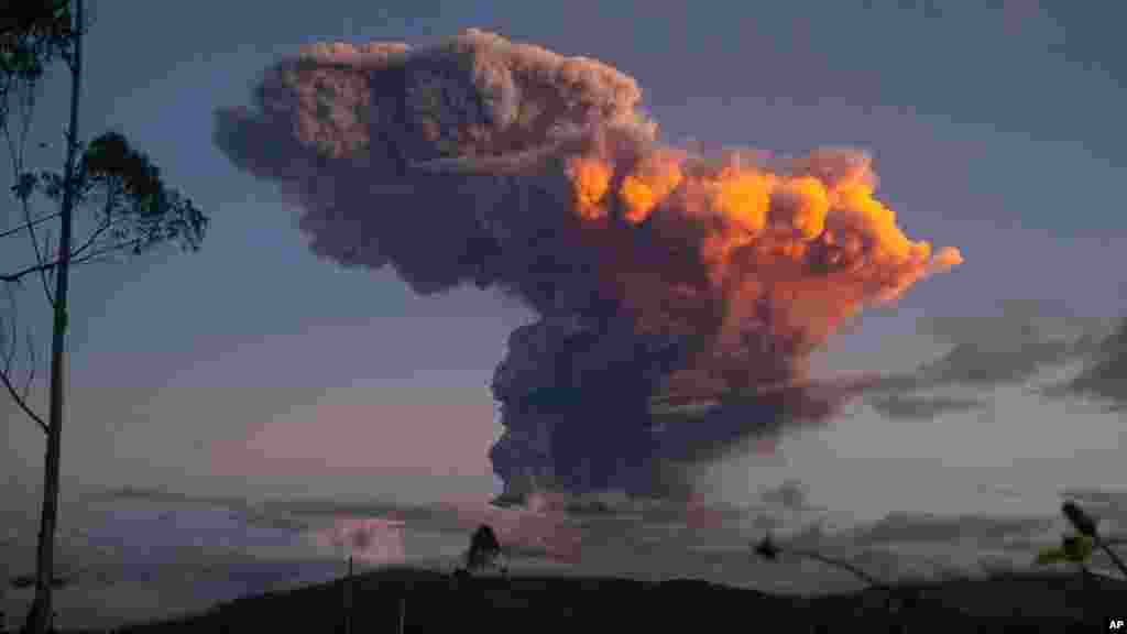 Tungurahua volcano spews a column of ash as seen from Ambato, Ecuador, April 4, 2014.