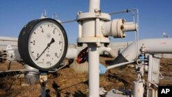 FILE - A gas pressure gauge of a main gas pipeline is shown in Russia.