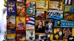 美國總統奧巴馬即將訪問古巴,當地有紀念品出售。