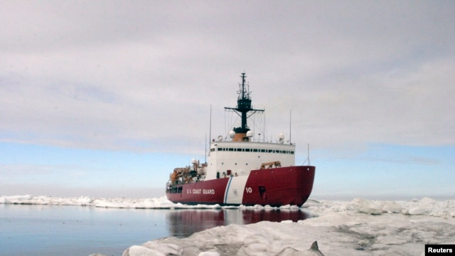 Polar Star, the U.S. Coast Guard icebreaker, completes ice drills in the Arctic in this July 3, 2013 handout photo.