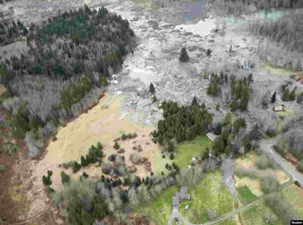 A general view of the area affected by a landslide near State Route 530 is seen in this Washington State Department of Transportation handout picture taken near Oso, Washington, March 22, 2014.