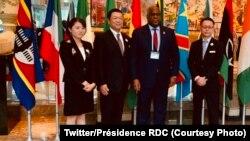 Président Félix Tshisekedi (2e na D) na Yokohama, Japon, 28 août 2019. (Twitter/Présidence RDC)