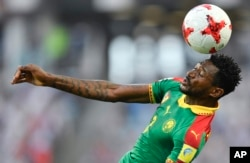Cameroon's Andre Frank Zambo Anguissa heads the ball during the Confederations Cup, Group B match between Germany and Cameroon, at the Fisht Stadium in Sochi, Russia, June 25, 2017.