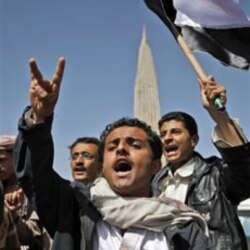 Yemenis demonstrating against the government in Sana'a on Friday
