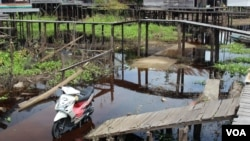 Bridges above roads link houses to cope with regular flooding, Kalanis village, South Barito, Central Kalimantan, Indonesia. (B. Hope/VOA)