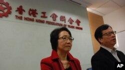 工聯會政務委員會正副主任鄭耀棠(右)與陳婉嫻宣佈,工聯會60席選委全數支持梁振英
