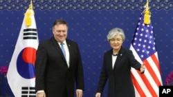 美国国务卿蓬佩奥2018年6月14日在首尔会见韩国外长康京和(美联社)