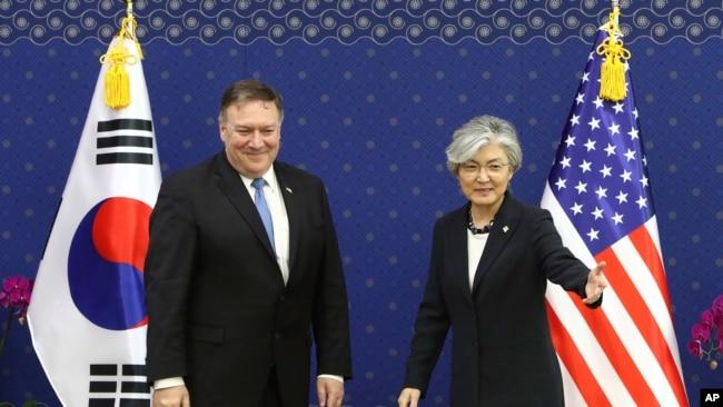 美國國務卿蓬佩奧2018年6月14日在首爾會見韓國外長康京和(美聯社)
