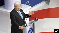 Republican presidential candidate, former House Speaker Newt Gingrich speaks at the Republican Jewish Coalition, Dec. 7, 2011