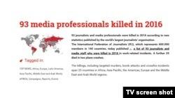 ၂၀၁၆ အတြင္း ျမန္မာအပါအ၀င္ ကမၻာတလႊား မီဒီယာသမား ၉၀ ေက်ာ္ အသတ္ခံရ