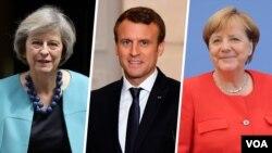 از راست آنگلا مرکل، امانوئل ماکرون و ترزا می رهبران آلمان، فرانسه و بریتانیا