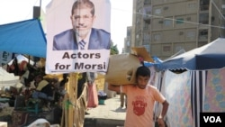 Morsi supporters say they moved onto the streets in reaction to the massive rallies against the former president in June. (Heather Murdock for VOA)