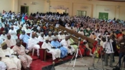 Large crowd listens intently during Town Hall meeting on Girls' Education in Sokoto, Nigeria