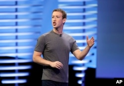 In this April 12, 2016 file photo, Facebook CEO Mark Zuckerberg delivers the keynote address at the F8 Facebook Developer Conference in San Francisco. (AP Photo/Eric Risberg, File)