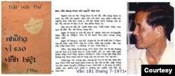 Phải, nhà văn Trần Phong Giao Thư ký Toà soạn báo Văn [ photo by Lê Phương Chi, Tin Sách Hội Bút Việt ]; giữa, bản tin trên báo Văn số 181, tháng 7/1971 loan tin THT cưới vợ: tiểu đăng khoa, và THT ra mắt tác phẩm đầu tay: đại đăng khoa; trái, bìa cuốn Những Vì Sao Vĩnh Biệt do Nhóm Ý Thức xuất bản 1971. [tư liệu Thư Quán Bản Thảo]