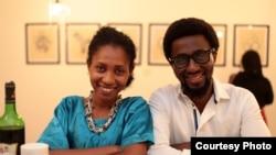 Artist Taiye Idahor stands with Whitespaces director Papa Omotayo. (Bola Oguntade, Poseidon Images)