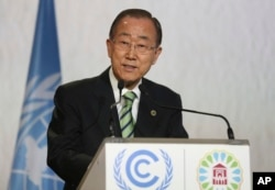 United Nations Secretary-General Ban Ki-moon speaks at opening session of U.N. climate conference in Morocco.
