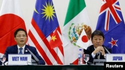 日本和越南官員2017年11月11日宣布11國達成新TPP意向(路透社)