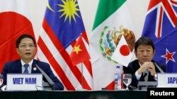 Bộ trưởng Công thương Việt Nam Trần Tuấn Anh (trái) và Bộ trưởng tái thiết kinh tế Nhật Bản Toshimitsu Motegi trong buổi họp về TPP bên lề Hội nghị APEC 2017 ở Đà Nẵng.