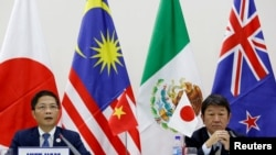 日本和越南官员2017年11月11日宣布11国达成新TPP意向(路透社)
