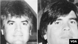 La foto de la Oficina del Procuraduría General de México muestra a Javier Arellano Félix, a la izquierda y su hermano Benjamín, ambos cabecillas del cártel que llevaba su apellido.