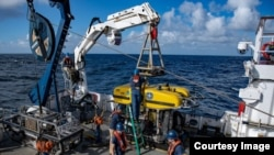 The Hercules ROV vehicle was launched from the Nautilus ship in the Pacific Ocean in the search for meteorite pieces in the ocean. (NautilusLive.org)