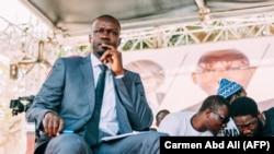 """Ousmane Sonko lors d'un débat organisé par le mouvement """"Y'en a marre"""" à la maison de la culture Douta Seck, à Dakar, le 21 février 2019."""