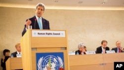 U.S. Secretary of State John Kerry delivers remarks to the United Nations Human Rights Council March 2, 2015, in Geneva. (AP Photo/Evan Vucci)