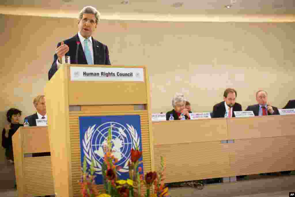 U.S. Secretary of State John Kerry delivers remarks to the United Nations Human Rights Council delivering a vigorous defense of Israel before a U.N. body that Washington deems biased against the Jewish state, Geneva, Switzerland, March 2, 2015.