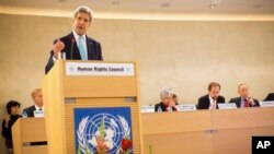 U.S. Secretary of State John Kerry delivers remarks to the United Nations Human Rights Council March 2, 2015, in Geneva.