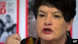 Sharan Burrow, general secretary of the International Trade Union Confederation (ITUC) speaks during a panel session on the first day of the 42nd annual meeting of the World Economic Forum, WEF, in Davos, Switzerland, file photo.