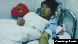 冯建梅被强迫人流后在医院
