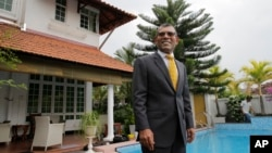 Former Maldives President Mohamed Nasheed poses for a photo following an interview with Associated Press in Colombo, Sri Lanka, Feb. 2, 2018.