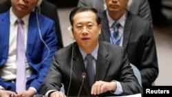 中国代表2018年4月14日在安理会支持俄罗斯批评联军空袭叙利亚(路透社)