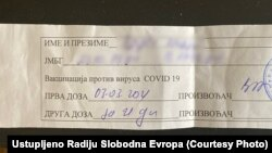 Bosnia and Herzegovina -- A certificate that one Bosnian citizen received first COVID vaccine in neighboring Serbia, March 3, 2021.