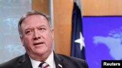 美国国务卿蓬佩奥在美国国务院举行的疫情记者会上。(路透社2020年3月17日摄)