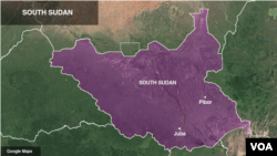 Lokasi Juba dan Pibor di Sudan Selatan.
