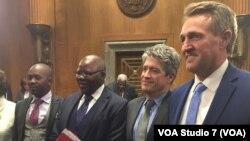 U.S. Senators Jeff Flake, Zimbabwe Politicians Nelson Chamisa and Tendai Biti, Author Peter Godwin