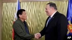 菲律宾总统杜特尔特与美国国务卿蓬佩奥。(2019年2月28日)