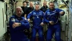 خدمه سه نفری وارد ایستگاه فضایی شد
