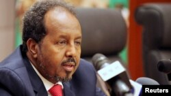 Somalia's President Hassan Sheikh Mohamed addresses a news conference at the African Union Headquarters in Addis Ababa May 26, 2013.