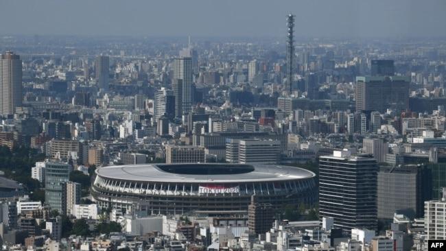 National Stadium, tempat penyelenggaraan Olimpiade dan Paralimpiade 2020 di Tokyo, 21 Juni 2021. (Foto: Kazuhiro NOGI/AFP)