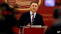 PM Macedonia Nikola Gruevski mengumumkan kepada media rencananya untuk mengundurkan diri di Skopje, Kamis (14/1).