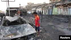 지난 22일 바그다드 사드르시티에서 발생한 차량 폭탄 공격 현장.(자료사진)