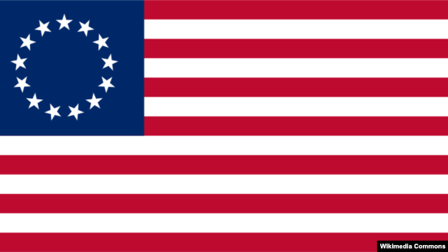 Early American flag with 13 stars representing the 13 states