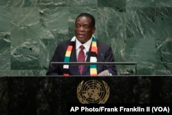 FILE - Zimbabwe's President Emmerson Mnangagwa addresses the 73rd session of the United Nations General Assembly, Sept. 26, 2018.