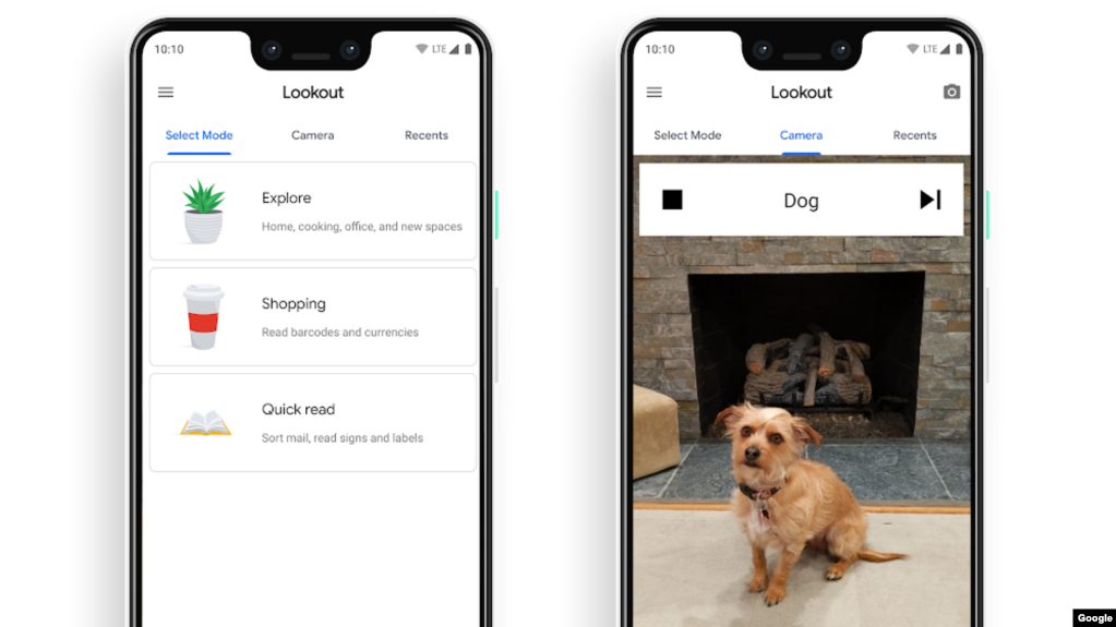 "Screenshot images show Google Lookout's modes ""Explore,"" ""Shopping"" and ""Quick read,"" as well as the app identifying a dog in the camera frame. (Google)"